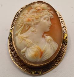 Beautiful 14kt Gold Carved Coral Cameo Brooch