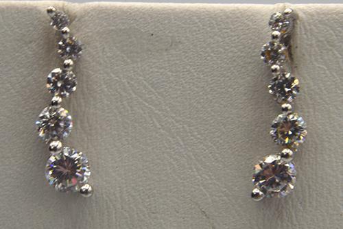 10KT White Gold Cubic Zirconia Earrings