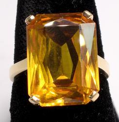 14KT 12.35CT Yellow Sapphire Ring