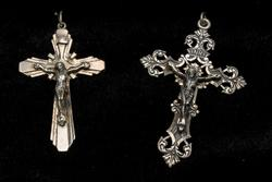 2 Vintage Sterling Silver Crucifixes
