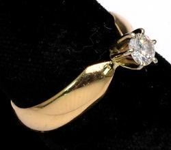 Diamond Solitaire Ring, 14KT