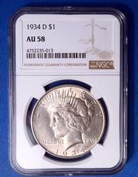 1934-D Peace Silver Dollar, AU58
