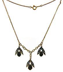 Vintage Black Star Sapphire & White Sapphire Necklace