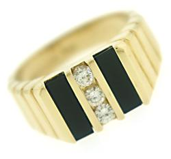Gents Black Onyx and Diamond Ring