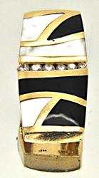 14K YELLOW GOLD SLIDE PENDANT/W ONYX, DIAMONDS & MOTHER OF PEARL
