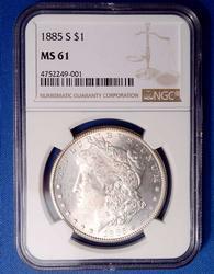 1885-S Morgan Dollar MS61 NGC