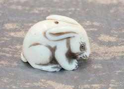 Natural Ivory Netsuke - Bunny with Attitude