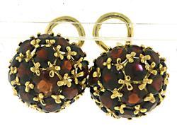 Fabulous 18kt Garnet Dome Earrings