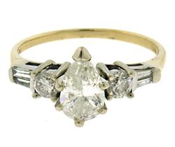 Fantastic Pear Center Diamond Engagement Ring