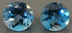 Two Matching Blue Topaz Loose Natural Gemstones