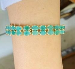 32.0+ Carat Emerald Tennis Bracelet, 14kt