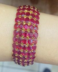Amazing 100.00 Carat Ruby Bracelet, 14kt Gold