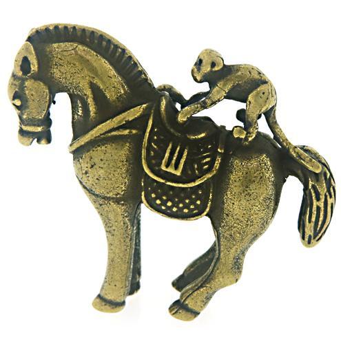 Brass Crafted Monkey Horse Sculpture