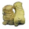Two Sitting Puppies Dogs Bronze Sculpture