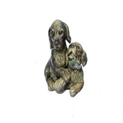 Multi Color Vienna Two Labrador Dogs Bronze Sculpture