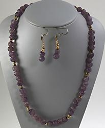 Gold Plated Amethyst Necklace and Earrings