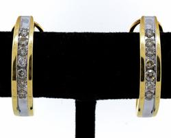 Diamond J Hoop Earrings in 14KT Yellow Gold