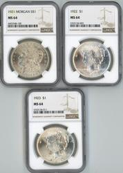 Near Gem BU 1921, 1922, & 1923 Silver Dollars. NGC MS64