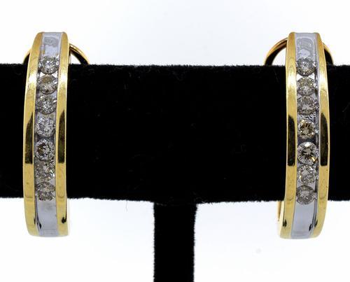 Diamond J Hoop Earrings in 14KT Yellow Gold