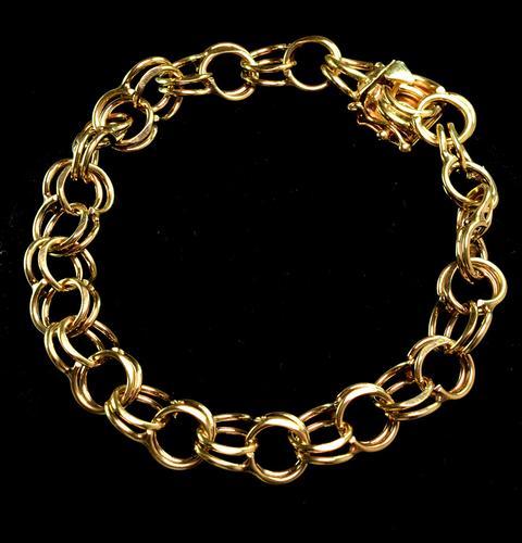 Excellent 14KT Double Linked Charm Bracelet