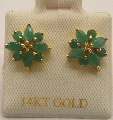 14kt Yellow Gold Emerald Earrings