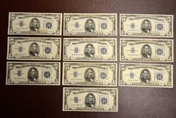 10  X $5 SILVER CERTS. 5) 1934-C & 5) 1934-D