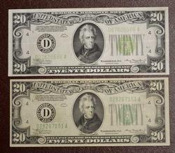 2 X 1934  $20 CLEVELAND LG SEAL & DG SEAL