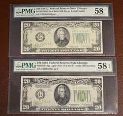 1934 & 1934C $20 CHICAGO NOTES  BOTH PMG AU-58