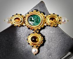 Elaborate 18K and Stone Brooch