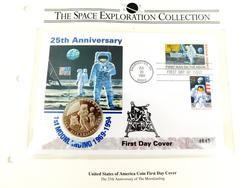 Moon Landing 25th Anniversary Stamp & Coin