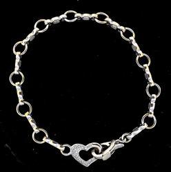 Cute Large-Link Diamond Heart Bracelet