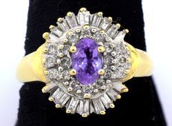 Glittering Vintage Iolite & Diamond Ring in Gold