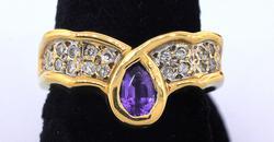 Unique Tanzanite & Diamond Ring in Gold