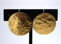 Bold Hammered Disc Earrings in Gold