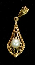 Beautiful Gold Filigree and Pearl Pendant