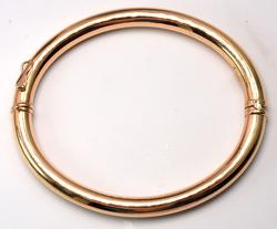 Glossy Hinged Bangle Bracelet in Gold