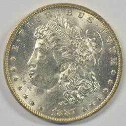 Frosty BU 1887-O Morgan Silver Dollar. Semi-key date
