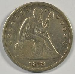 Upper end 1872 Liberty Seated Silver Dollar. Scarce
