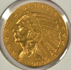 Very attractive 1909-D US $5 Indian Gold Piece