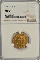 Very scarce nearly BU 1913-S $5 Indian Gold. NGC AU53