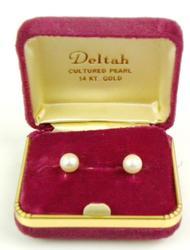 Vintage 14K Cultured Pearl Screwback Earrings