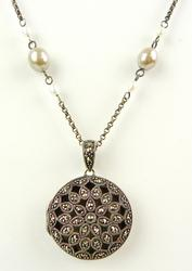 Sterling Marcasite Locket & Long Pearl Chain
