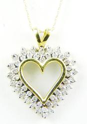 Pretty 10K Diamond Heart Pendant & Chain