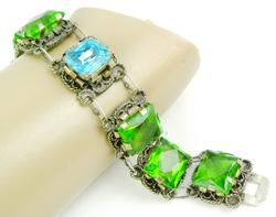 Early Mexican Sterling & Glass Stones Bracelet