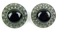 Big Sterling Marcasite & Domed Onyx Earrings