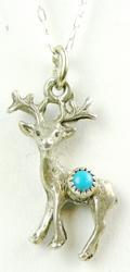 Vintage Sterling Turquoise Deer Pendant & Chain
