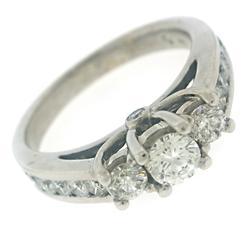 Glowing Diamond 3 Stone Ring w Channel Set Sides