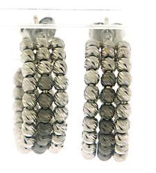 Gorgeous Diamond Cut Bead Hoops Earrings