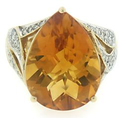 Pretty Pear Shaped Citrine and Diamond RIng