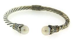 Pearl Silver and 18kt Hinged Bangle